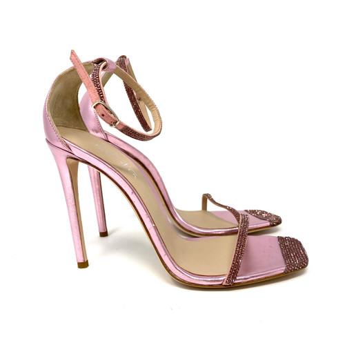 Sebastian Metallic Pink Rhinestone Stilettos- Right