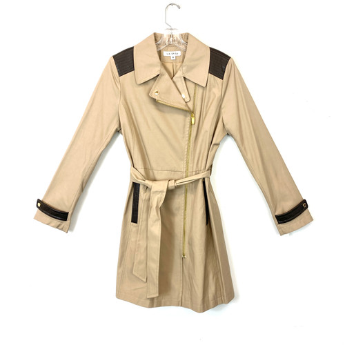 Via Spiga Leather Contrast Zipped Trench Coat- Front