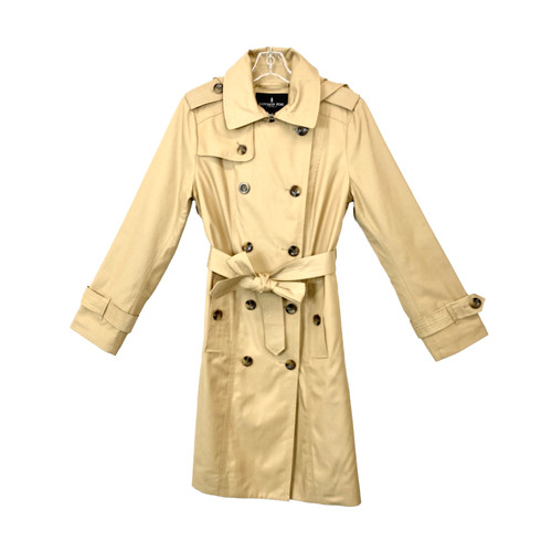 London Fog Hooded Double Breasted Trench Coat- Front