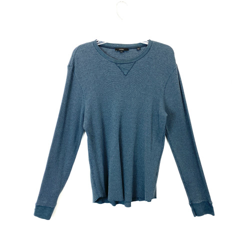 Vince Teal Two-Tone Thermal Sweater- Front