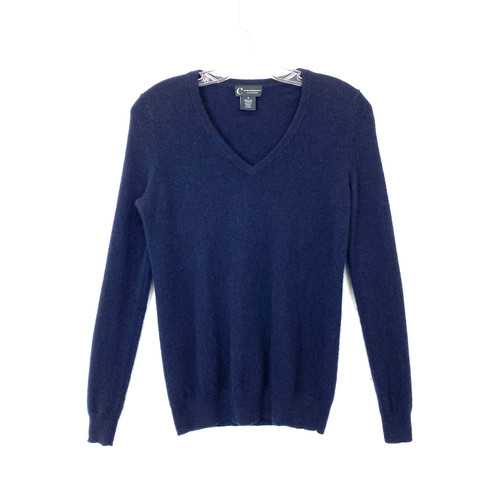 C by Bloomindgdales 2-Ply Cashmere V-Neck Sweater- Front