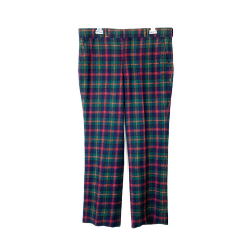 Vintage Pendleton Green and Blue Plaid Trousers- Front