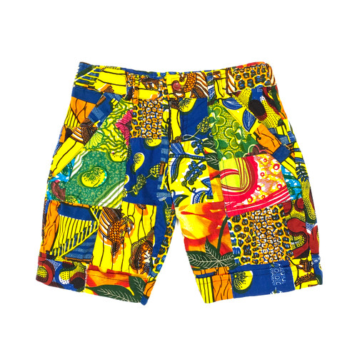 Vintage Colorful Printed Cargo Shorts- Front