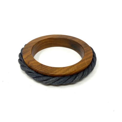 Nautical Wood and Fabric Bangle- Thumbnail