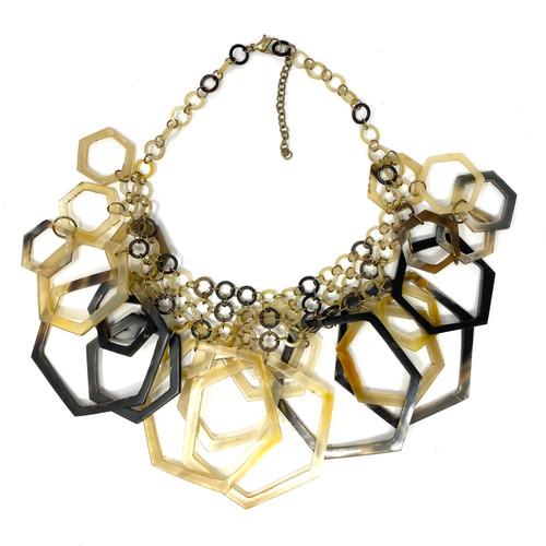 Layered Hexagons Statement Necklace- Front