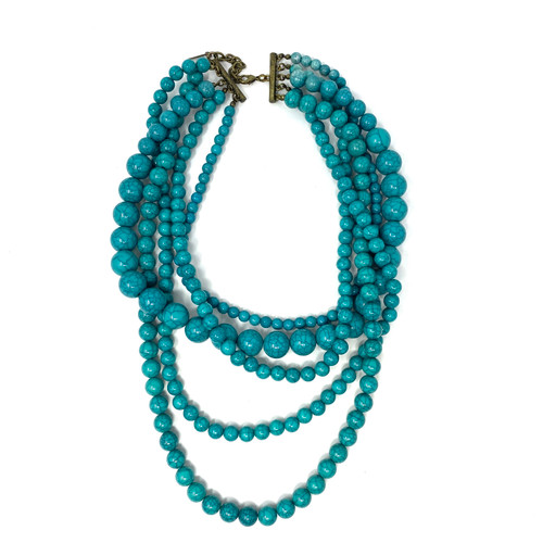Turquoise Strands Beaded Necklace- Thumbnail