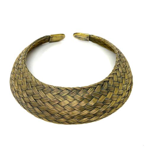 Basket Weave Brass Choker- Front