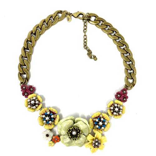 Joan Rivers Enamel Flowers Curb Chain Necklace- Front