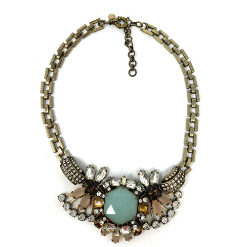 J. Crew Ornate Brass and Rhinestone Necklace- Front