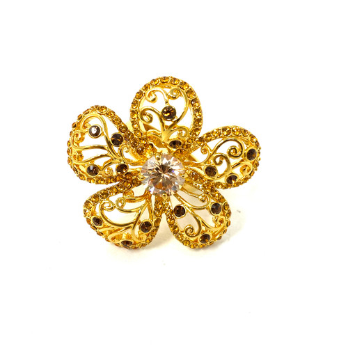 Gilded Petals Flower Ring- Front