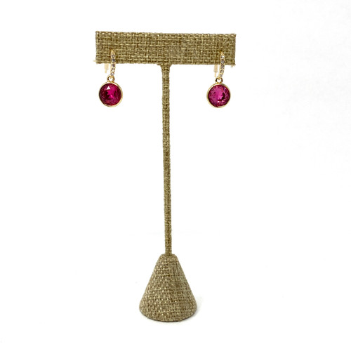 Faceted Pave Drop Earrings- Pink Front
