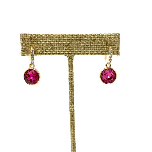 Faceted Pave Drop Earrings- Pink Close Up