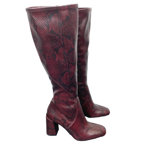 Franco Sarto Snake Pattern Knee High Boots- Right