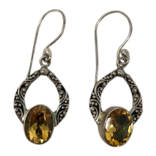 Sterling Silver and Citrine Drop Earrings-Front