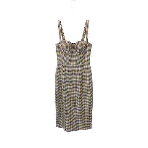 Amanda Uprichard Plaid Bustier Dress- Front