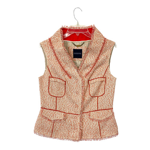 Magaschoni Cotton Tweed Fringed Vest- Front