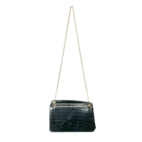 Vintage Croc Embossed Leather Shoulder Bag - Thumbnail