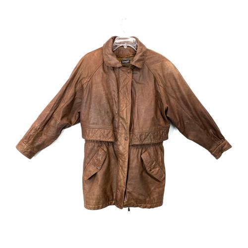 Vintage Adventure Bound Zip Front Leather Coat- Front