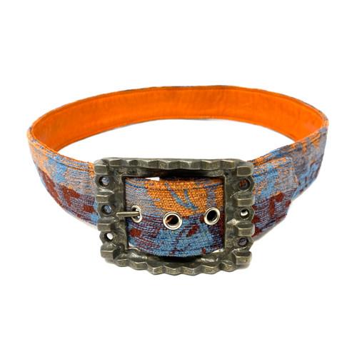 Vintage Brutalist Buckle Textile Belt- Thumbnail