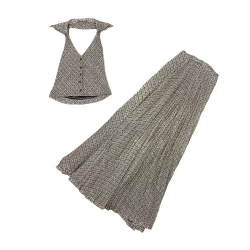 Vintage  Halter Top Pleated Skirt Set by Judith Wister -Thumbnail