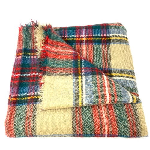 Cozy Plaid Blanket Scarf- Front