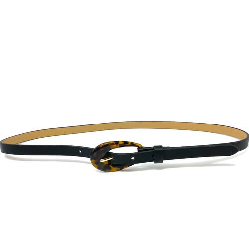 Tortoiseshell Oval Buckle Belt- Thumbnail