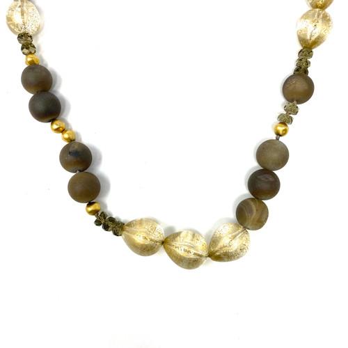 Gold Fleck and Smoke Beaded Necklace- Thumbnail