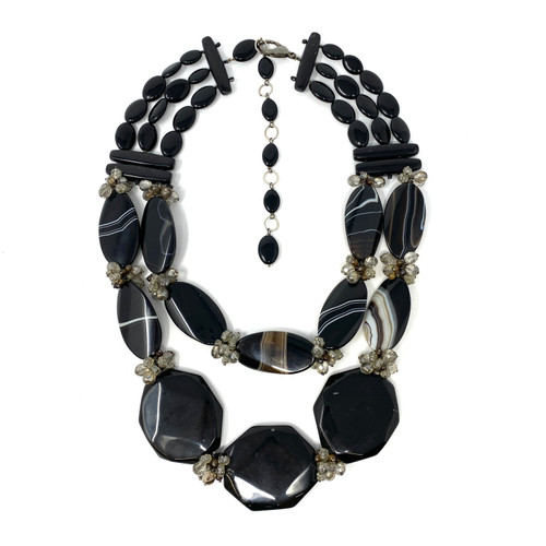 Double Layer Oversized Black Faceted Stone Necklace- Front