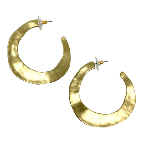 Hammered Texture Flattened Hoops- Front