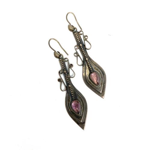 Sterling Rose Amulet Earrings- Thumbnail