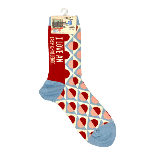 Blue Q I Love An Easy Challenge Socks- Front