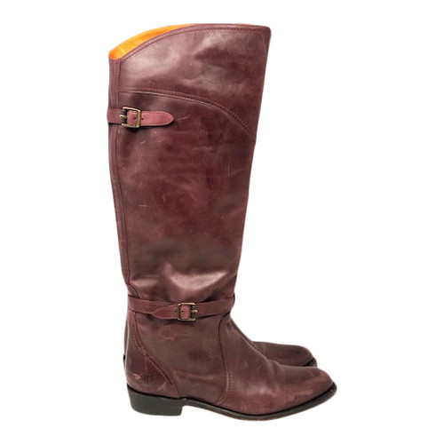 Frye Buckle Strap Riding Boots-Right