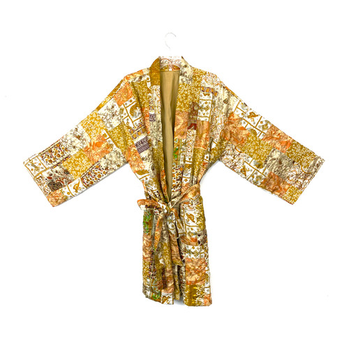 Kantha Patchwork Quilted Bath Robe- Front