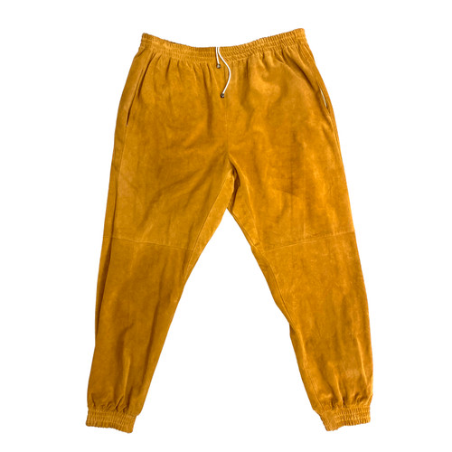 Camel Suede Joggers- Front
