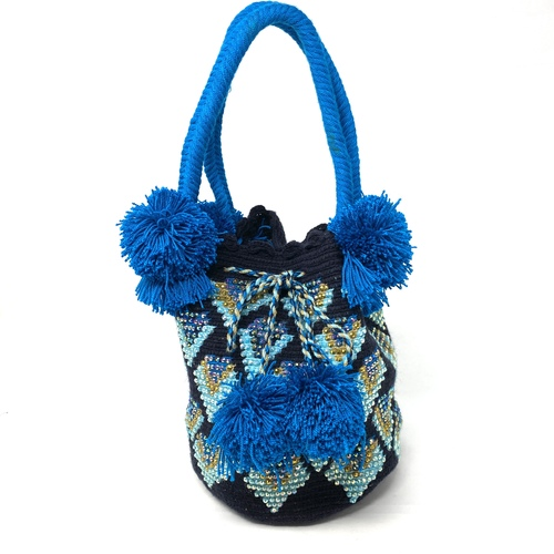 Woven Pom Pom Bucket Bag- Thumbnail