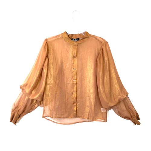 Lulus Puff Sleeve Button-Up Top - Thumbnail