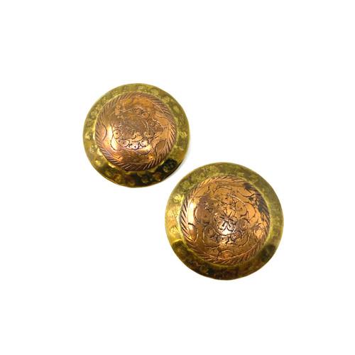 Vintage Hammered Brass Medallion Earrings- Front