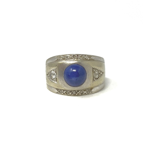 Vintage Wide Band Lapis Ring- Front