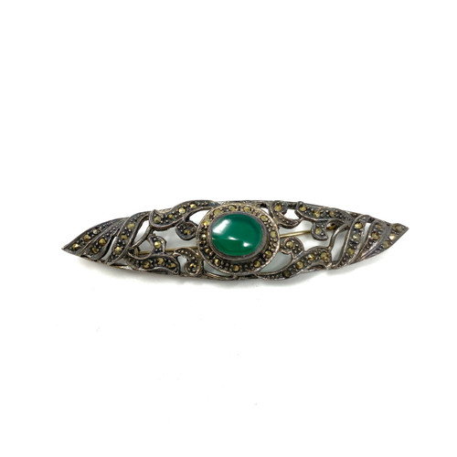 Vintage Art Deco Style Marcasite Brooch- Front