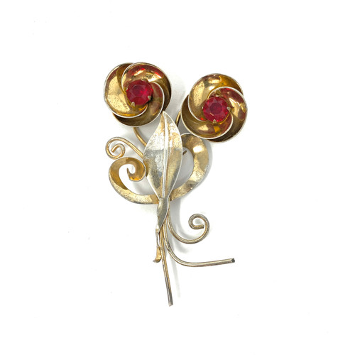 Vintage Whimsical Red Stone Brooch- Front