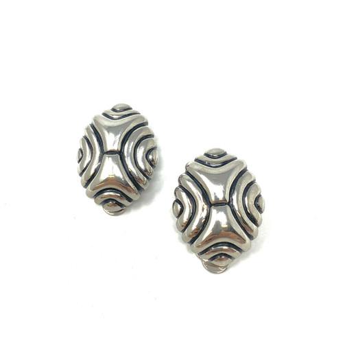 Vintage 80's Silver Rhombus Earrings- Front