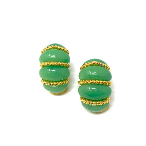 Vintage Jade Green Ridged Earrings- Front