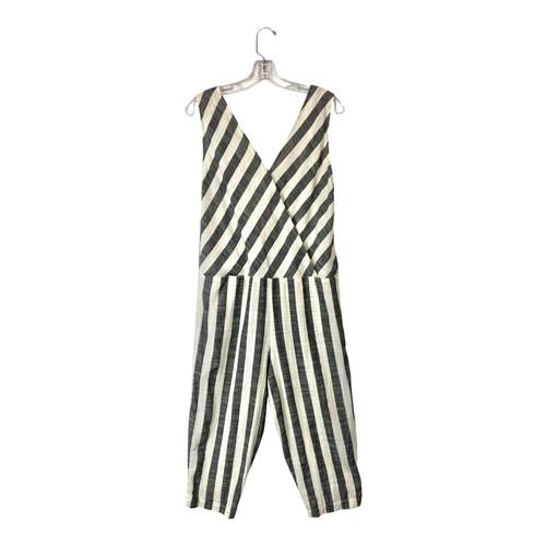 Vintage Striped Sleeveless Jumpsuit- Front