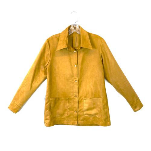 Khaki Ultrasuede Shirt Jacket- Front