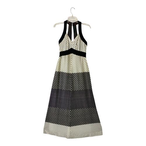 Vintage Graphic Print Halter Dress- Front