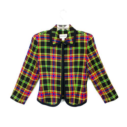 Vintage Emanuel Ungaro Plaid Zip Front Jacket- Front