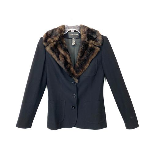 Vintage Ralph Lauren Collection Faux Fur Lapel Jacket- Front