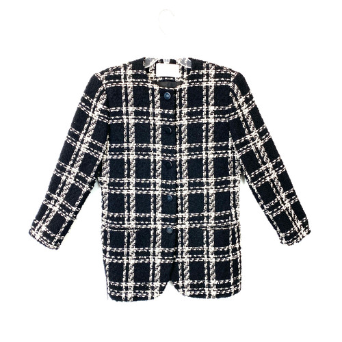 Vintage Lord & Taylor Collarless Plaid Jacket- Front