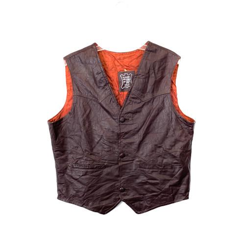 Vintage Burgundy Stitched Leather Vest- Front