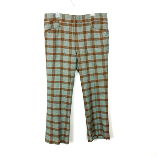 Vintage Green and Orange Checked Trousers- Front
